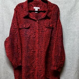 Woman Within Red Cheetah Oversized Shirt Sz 2X